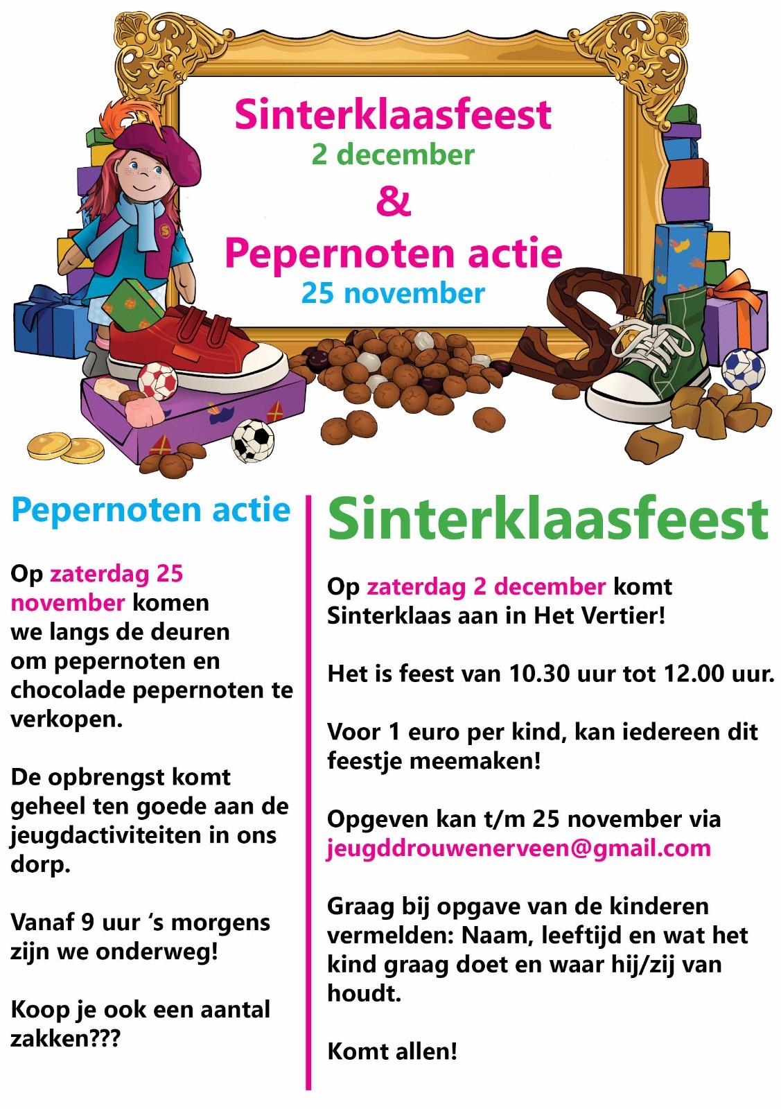 Sinterklaasfeest in Drouwenerveen @ Dorpshuis Het Vertier | Drouwenerveen | Drenthe | Nederland